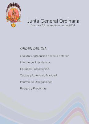 Junta General Ordinaria, viernes 12 de septiembre.