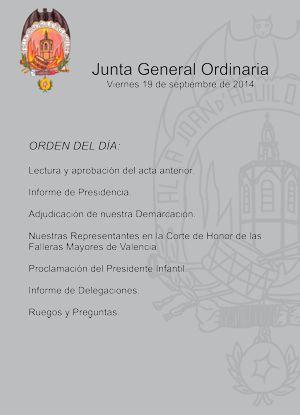 Junta General Ordinaria, viernes 19 de septiembre 2014
