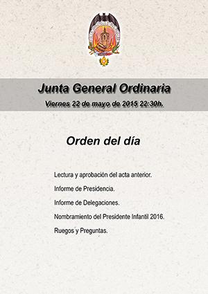 Junta Genera Ordinaria viernes 22 de mayo.